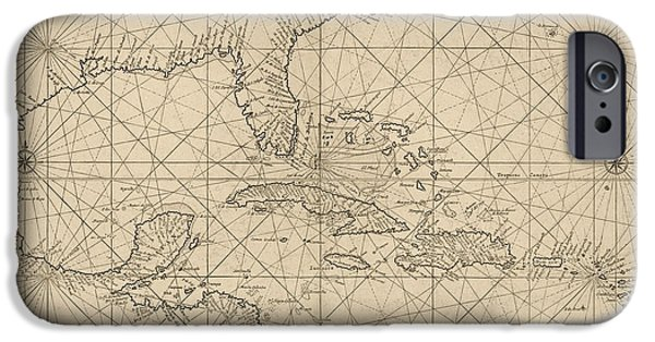 Antique Map Of The Caribbean By Johannes Loots - Circa 1705 IPhone Case by Blue Monocle