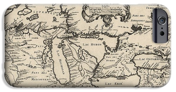 Antique Map Of The Great Lakes By Jacques Nicolas Bellin - 1755 IPhone Case by Blue Monocle