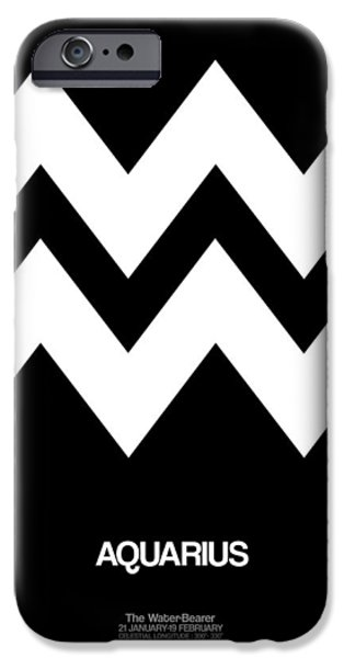 Aquarius Zodiac Sign White IPhone Case by Naxart Studio