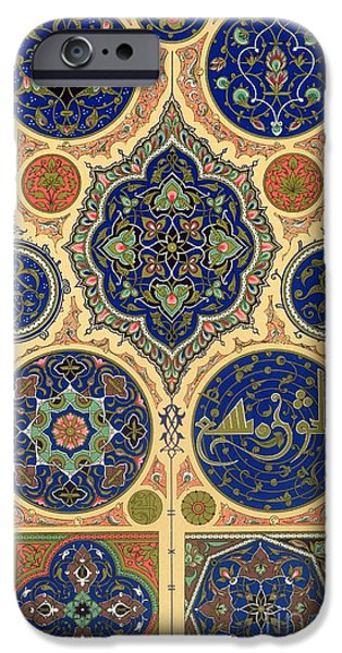Arabian Decoration Plate Xxvii From Polychrome Ornament IPhone Case by Albert Charles August Racinet