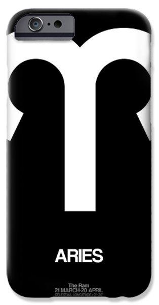 Aries Zodiac Sign White IPhone Case by Naxart Studio