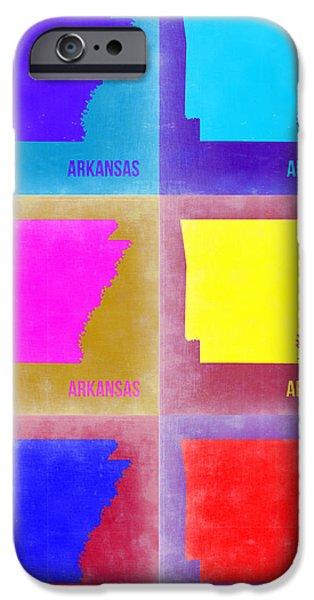 Arkansas Pop Art Map 2 IPhone Case by Naxart Studio