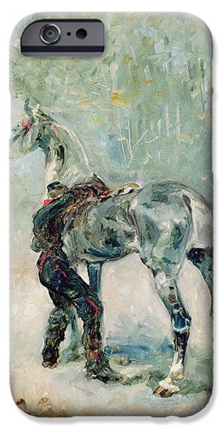 Artilleryman Saddling His Horse, 1879  IPhone Case by Henri de Toulouse-Lautrec