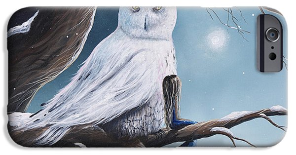 White Snow Owl Painting IPhone Case by Shawna Erback