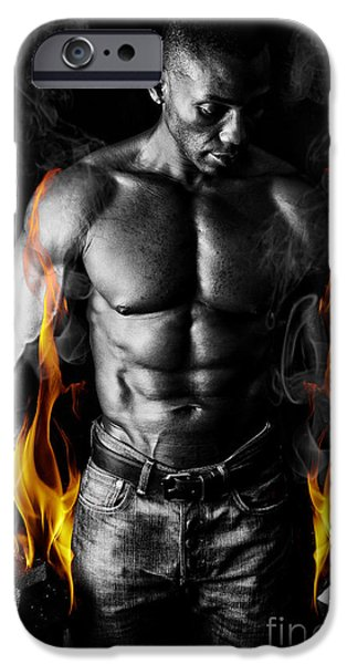 Athletic Muscular Young Man With Weights On Fire For Motivation  IPhone Case by Jt PhotoDesign