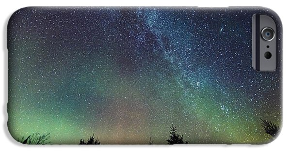 Aurora Borealis And Milky Way Visible IPhone Case by Yves Marcoux