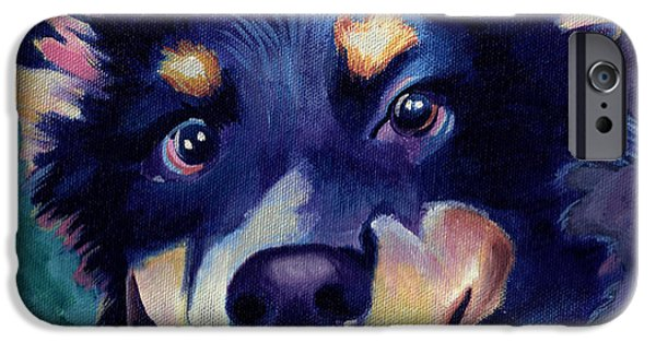 Australian Shepard Dog Portrait IPhone Case by Robyn Saunders