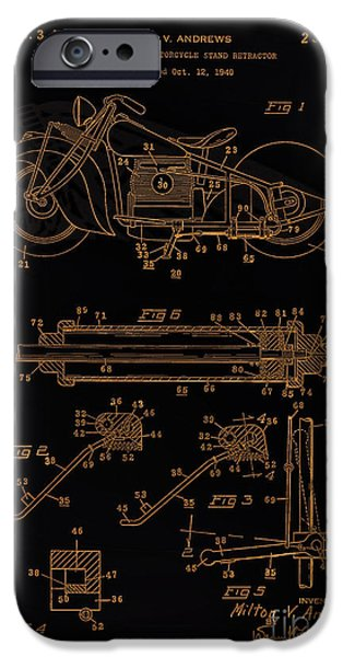 Automate Motorcycle Stand Retractor Blk Brown IPhone Case by Brian Lambert