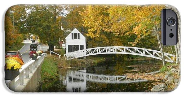 Autumn Colors At Somesville Bridge Mount Desert Island Maine IPhone Case by Lena Hatch