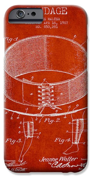 Bandage Patent From 1907 - Red IPhone Case by Aged Pixel