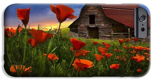 Barn In Poppies IPhone Case by Debra and Dave Vanderlaan
