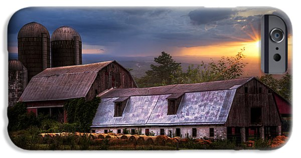Barns At Sunset IPhone Case by Debra and Dave Vanderlaan