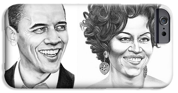 Barrack And Michelle Obama IPhone Case by Murphy Elliott