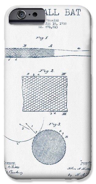 Baseball Bat Patent Drawing From 1904 - Blue Ink IPhone 6s Case by Aged Pixel