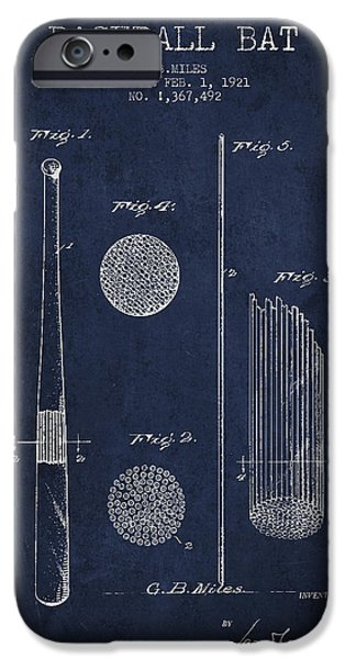 Baseball Bat Patent Drawing From 1921 IPhone 6s Case by Aged Pixel