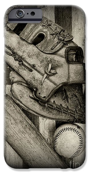 Baseball The Lefty In Black And White IPhone Case by Paul Ward