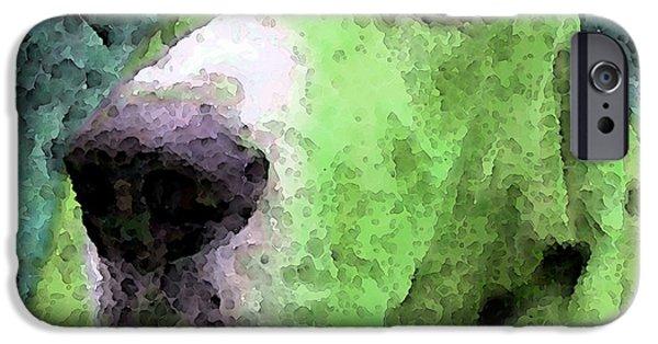 Basset Hound - Pop Art Green IPhone Case by Sharon Cummings