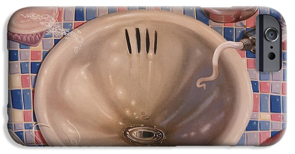 Bathroom Sink 1991  Skewed Perspective Series 1991 - 2000 IPhone Case by Larry Preston