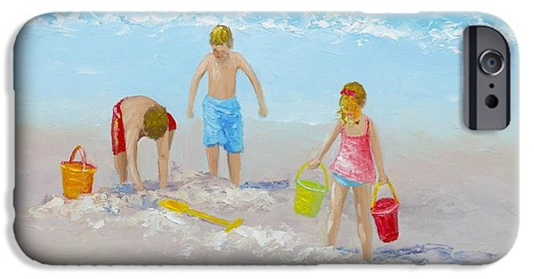 Beach Painting - Sandcastles IPhone Case by Jan Matson
