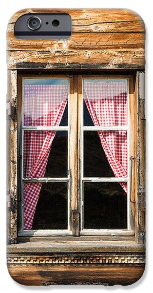 Beautiful Window Wooden Facade Of A Chalet In Switzerland IPhone Case by Matthias Hauser