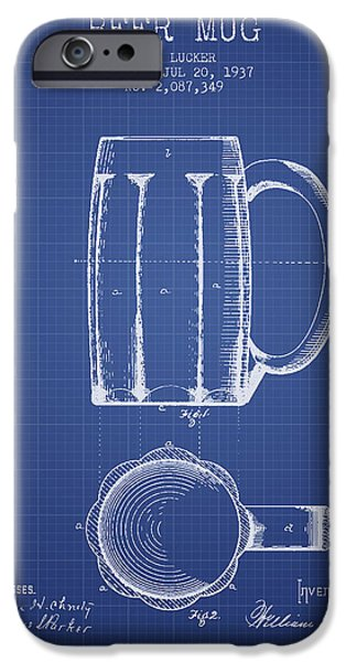 Beer Mug Patent 1876 - Blueprint IPhone Case by Aged Pixel