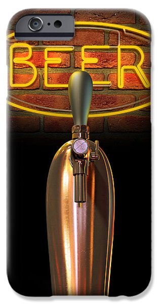 Beer Tap Single With Neon Sign IPhone Case by Allan Swart