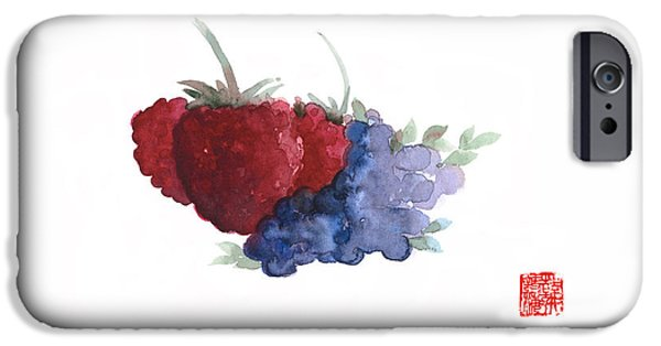 Berries Red Pink Black Blue Fruit Blueberry Blueberries Raspberry Raspberries Fruits Watercolors  IPhone 6s Case by Johana Szmerdt