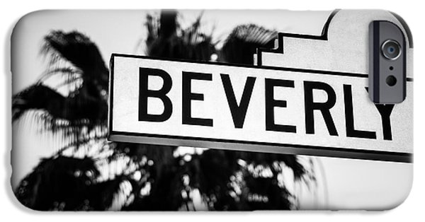 Beverly Boulevard Street Sign In Black An White IPhone 6s Case by Paul Velgos