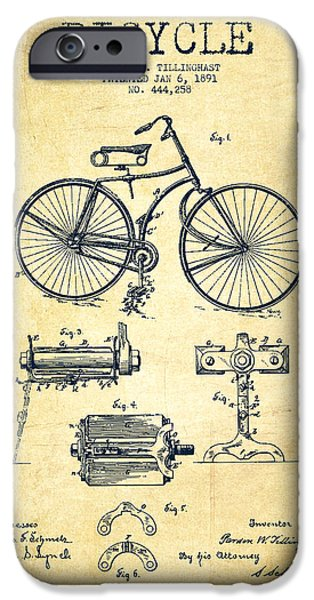 Bicycle Patent Drawing From 1891 - Vintage IPhone Case by Aged Pixel