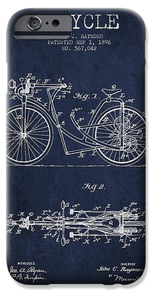 Bicycle Patent Drawing From 1896 - Navy Blue IPhone Case by Aged Pixel