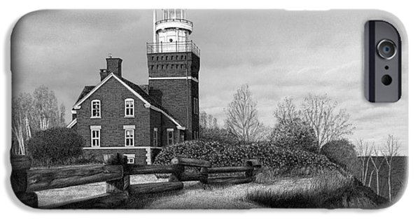 Big Bay Point Lighthouse Titled IPhone Case by Darren Kopecky