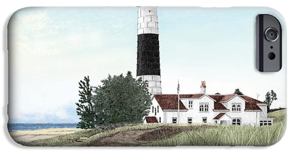 Big Sable Point Lighthouse Titled IPhone Case by Darren Kopecky