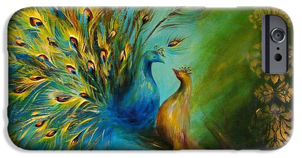 Birds Of A Feather Peacocks 3 IPhone Case by Dina Dargo