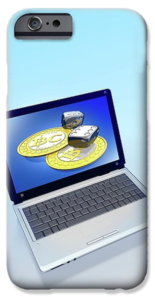 Bitcoins And Dice On A Laptop IPhone Case by Victor Habbick Visions