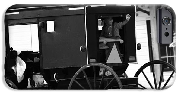 Black And White Amish Buggy IPhone Case by Dan Sproul