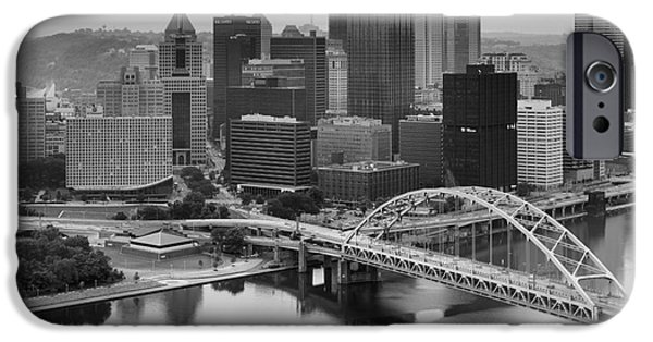 Black And White Pittsburgh Sunrise IPhone Case by Adam Jewell