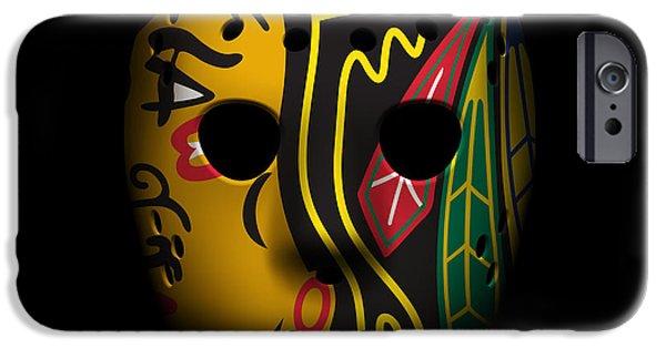 Blackhawks Goalie Mask IPhone Case by Joe Hamilton