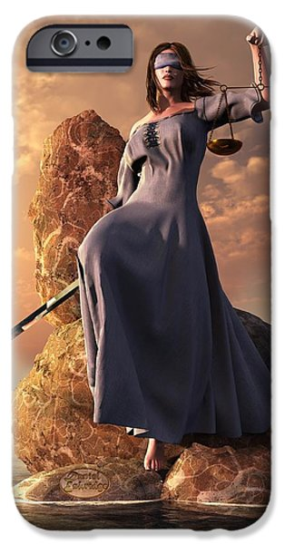 Blind Justice With Scales And Sword IPhone Case by Daniel Eskridge