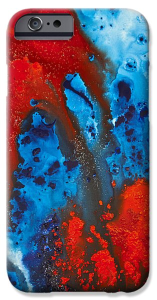 Blue And Red Abstract 3 IPhone Case by Sharon Cummings