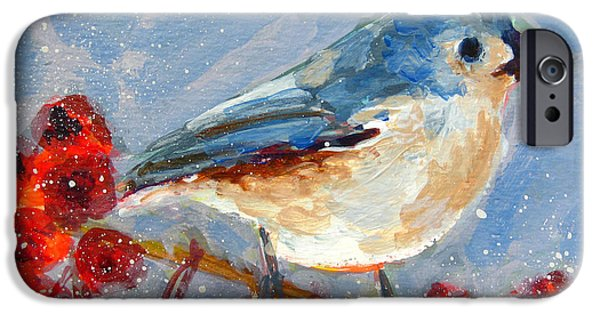 Blue Bird In Winter - Tuft Titmouse Modern Impressionist Art IPhone Case by Patricia Awapara