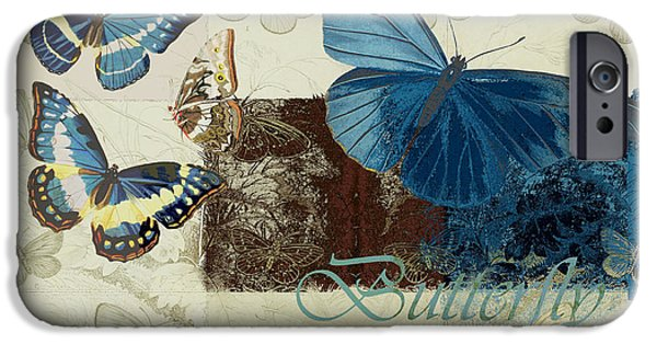 Blue Butterfly - J152164152-01 IPhone Case by Variance Collections