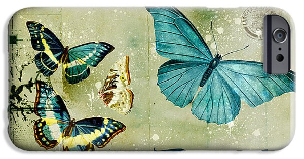 Blue Butterfly - S55c01 IPhone Case by Variance Collections