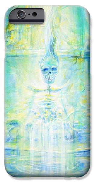 Blue Skeleton Meditation IPhone Case by Heather Calderon