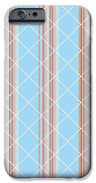 Blue Stripe Pattern IPhone Case by Christina Rollo