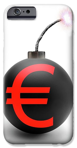 Bomb With Euro Symbol IPhone Case by Victor De Schwanberg