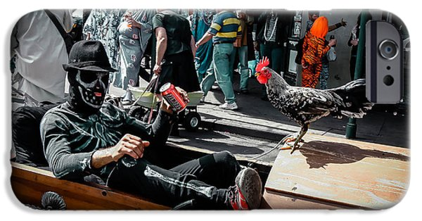 Bone Man And Rooster In Coffin Car On Mardi Gras In New Orleans IPhone Case by Louis Maistros
