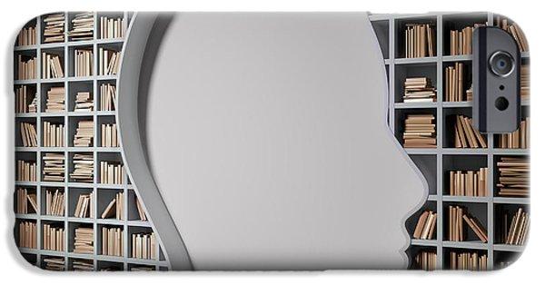 Bookshelf With The Shape Of Human Head IPhone Case by Andrzej Wojcicki