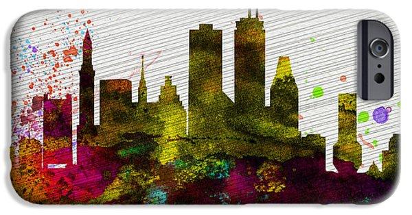 Boston City Skyline IPhone Case by Naxart Studio