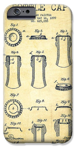 Bottle Cap Patent Drawing From 1899 - Vintage IPhone Case by Aged Pixel
