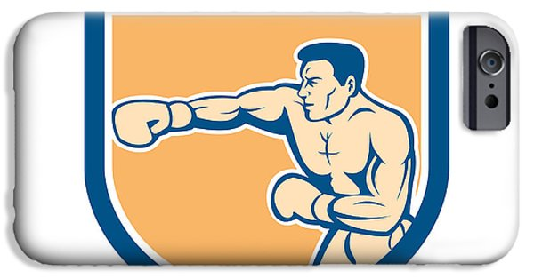 Boxer Boxing Punching Shield Cartoon IPhone Case by Aloysius Patrimonio